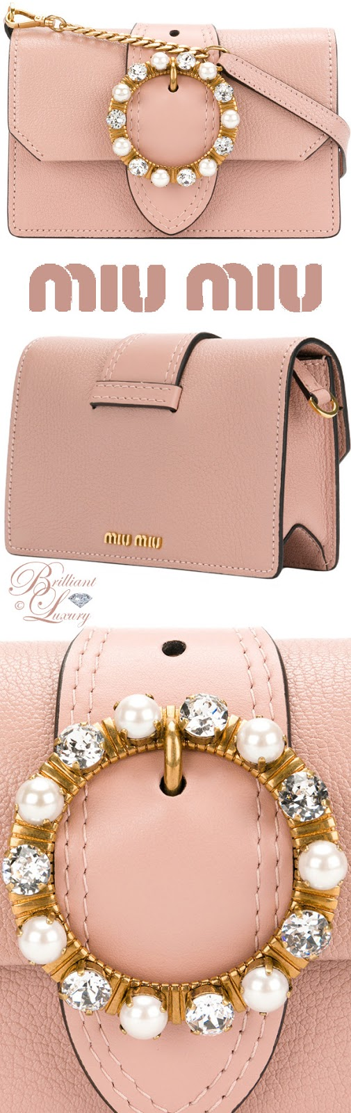 Brilliant Luxury ♦ Miu Miu mini pink leather crystal buckle Lady bag