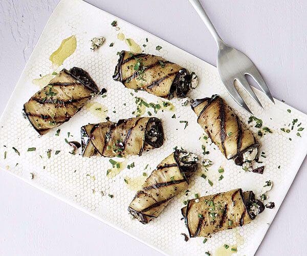 Six Grilled Eggplant Rolls with Olives and Feta