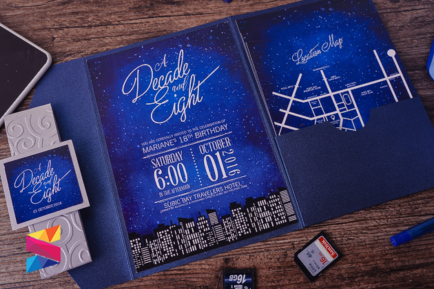 Starry Night Themed Debut Invitation Stunro Creativeworks