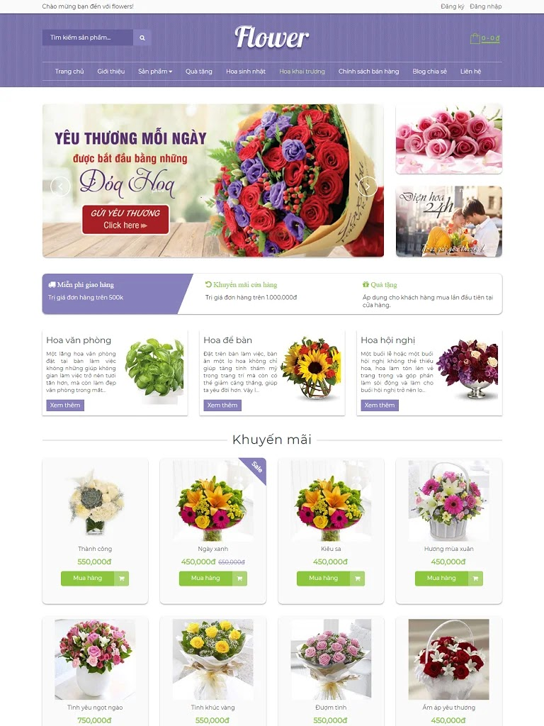 Template blogspot bán hàng shop hoa flowers chuẩn seo