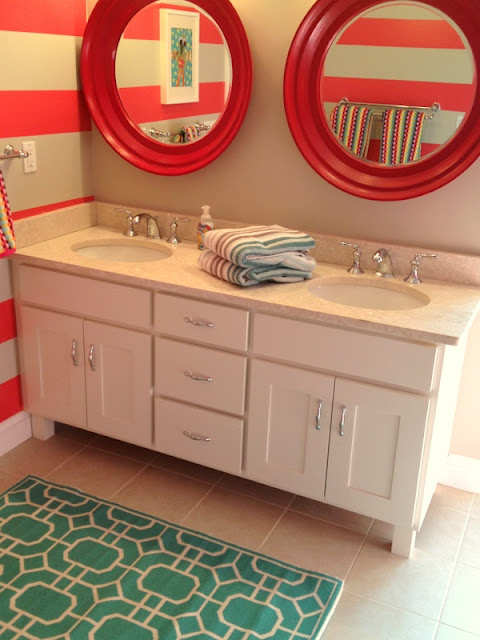 Vivid Hue Home Diy Bathroom Bench Gets Racing Stripes