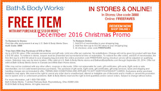 free Bath And Body Works coupons december 2016