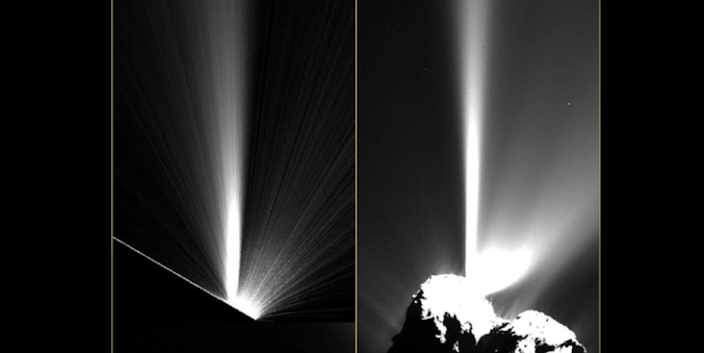 High-resolution images from Rosetta observations of 67P/Churyumov-Gerasimenko show outbursts that resemble plumes of material from geysers on Earth. Credit: ESA