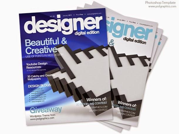 Blue Magazine Cover Template PSD