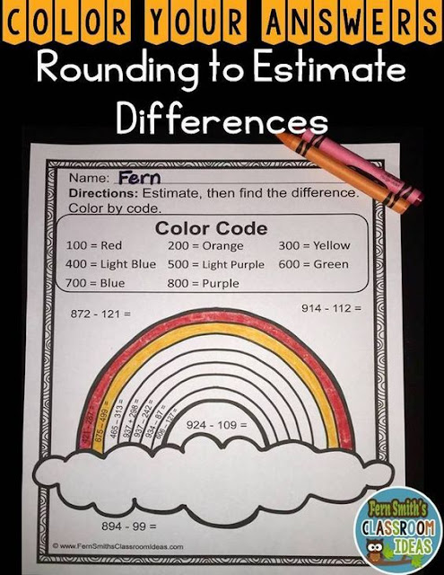 Third Grade Go Math 1.8 Color By Numbers Rounding to Estimate Differences