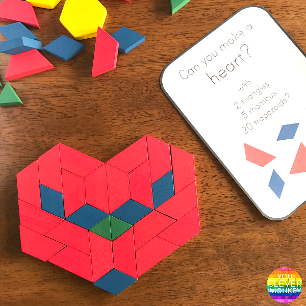 Free Valentines Days STEAM Pattern Block Challenge Cards - ready to print and use in your Early Years classroom | you clever monkey
