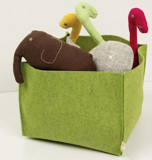 felt basket, green
