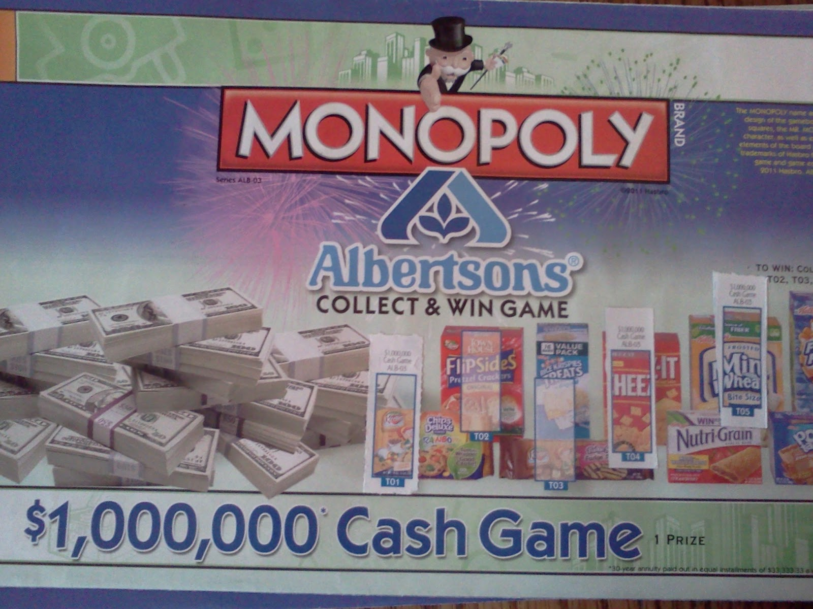 picture about Albertsons Monopoly Game Board Printable referred to as Albertson monopoly activity board 2019 : 5 per cent income back again