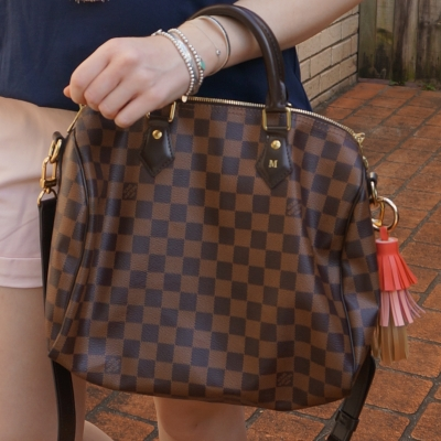 Louis Vuitton Damier Ebene 30 speedy bandouliere with tassel bag charm | awayfromtheblue