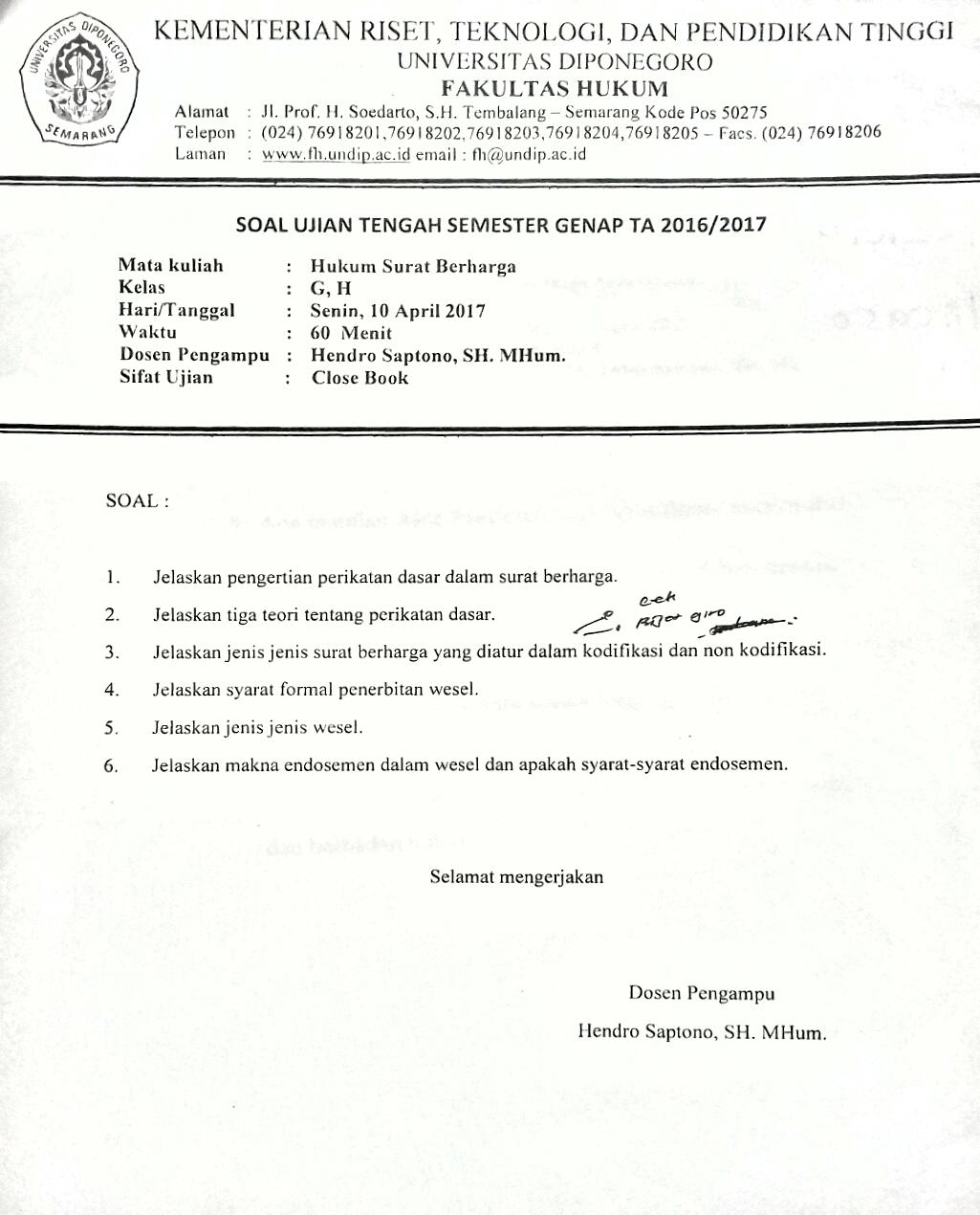 Kumpulan Soal Uts Semester 4 Ta 2016 2017 Fakultas Hukum Undip