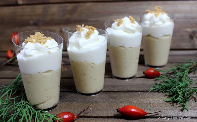 Vasitos de crema de turrón Jijona y chocolate blanco. Julia y sus recetas