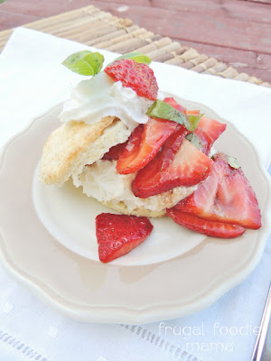 Frugal Foodie Mama: Strawberry Basil Sour Cream Shortcakes