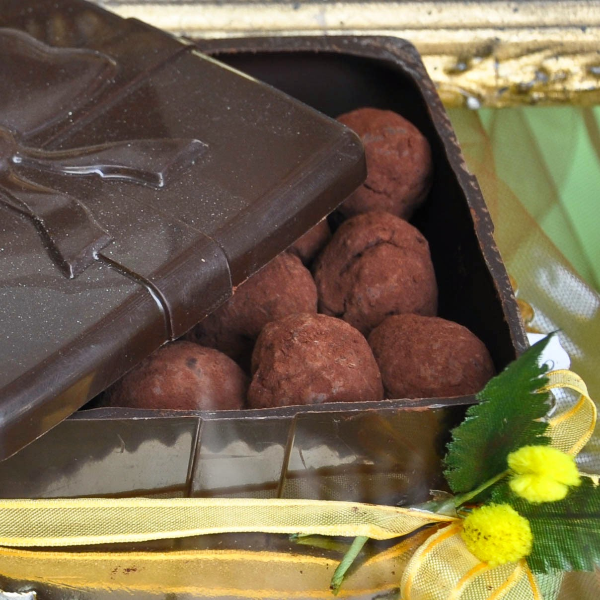 Chocolate truffles in a chocolate box by Pasticceria Venezia in Vicenza