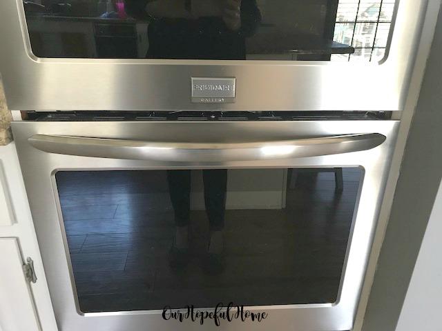 Frigidaire Gallery stainless steel double oven door and handle