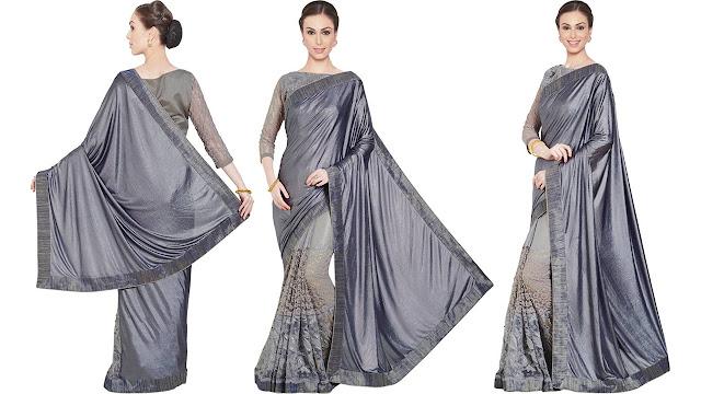 INDIAN WOMEN Embroidered Fashion Net, Jacquard Saree  (Grey)