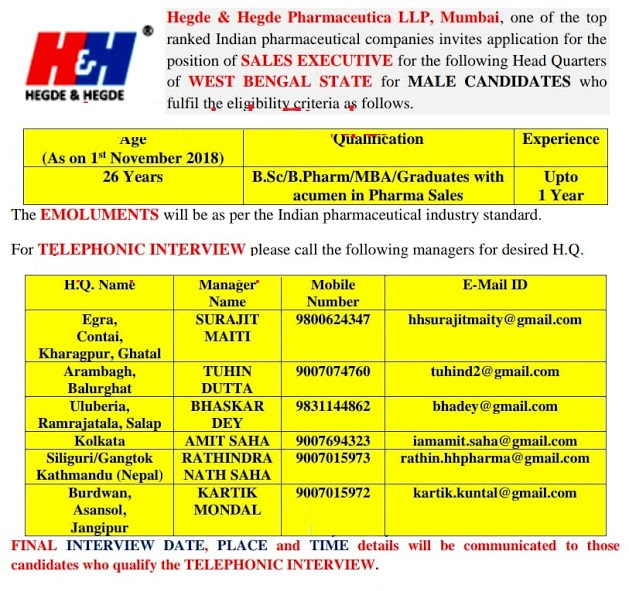Hegde & Hegde Pharmaceutica Walk In Interview B.Sc, B.Pharm, MBA, Graduates - Apply Now