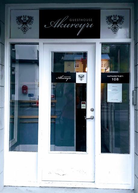 Front door of Guesthouse Akureyri
