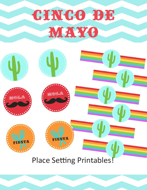 Cinco de Mayo: Free Printable Toppers and Napkin Rings.