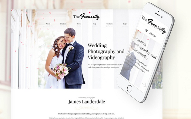 Striking WordPress Theme for a Wedding Photographer