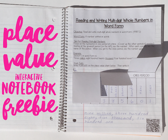 Place Value FREEBIES & Paperless Activities: Includes FREE interactive notebook, FREE expanded form match-up with QR codes, FREE rounding numbers activity plus digital activities for Google Classroom. Ideal for 3rd & 4th grade students.