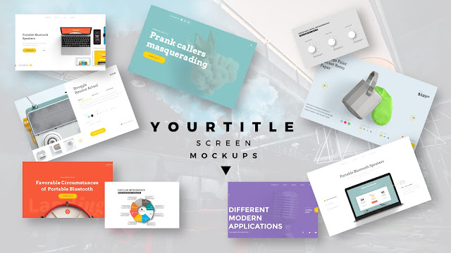 Modern Presentation Screen Mockup with Free PowerPoint Templates Slide 9