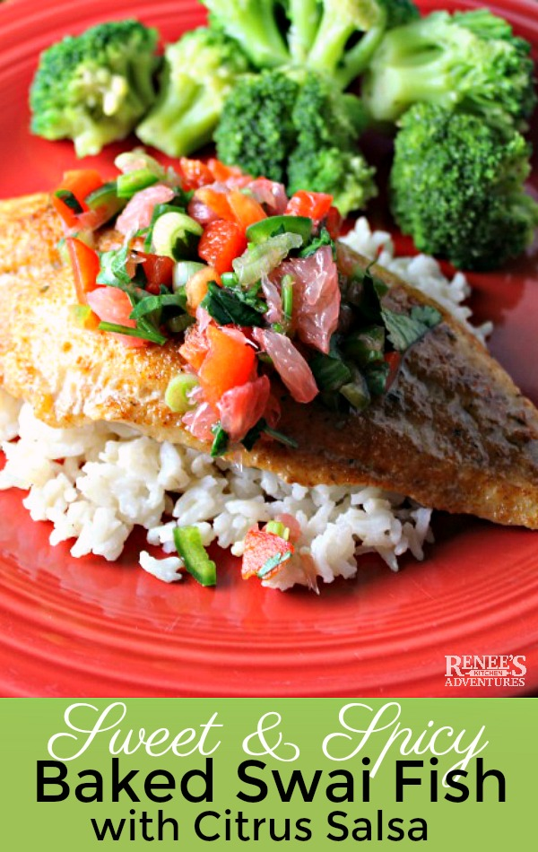 Sweet and Spicy Swai Fillets with Citrus Salsa by Renee's Kitchen Adventures - easy baked fish recipe that uses swai, tilapia, or salmon as the seafood choice. Fish is baked in the oven and topped with a spicy citrus salsa. Makes a great easy weeknight dinner because it's ready in less than 30 minutes. #seafood #bakedfish #fishrecipe #bakedfishrecipe