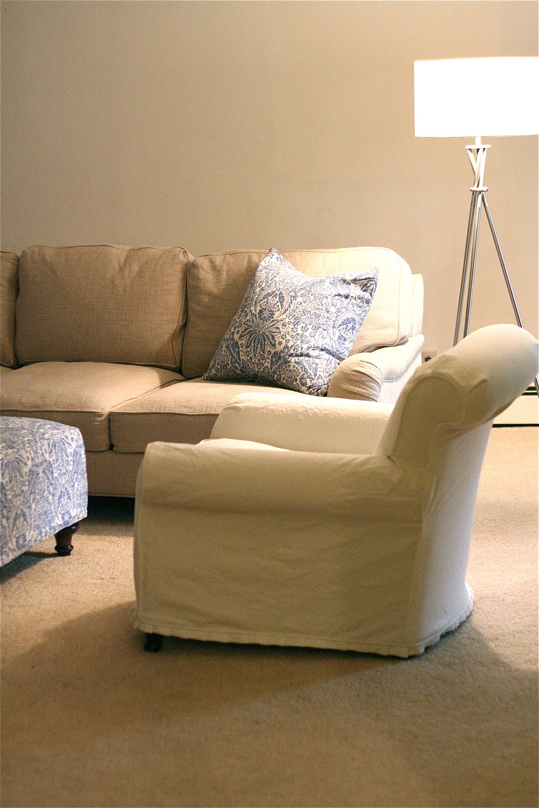Custom Slipcovers By Shelley White Chair And Blue Damask