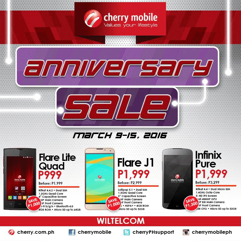 Cherry Mobile WilTelCom Sale Announced!