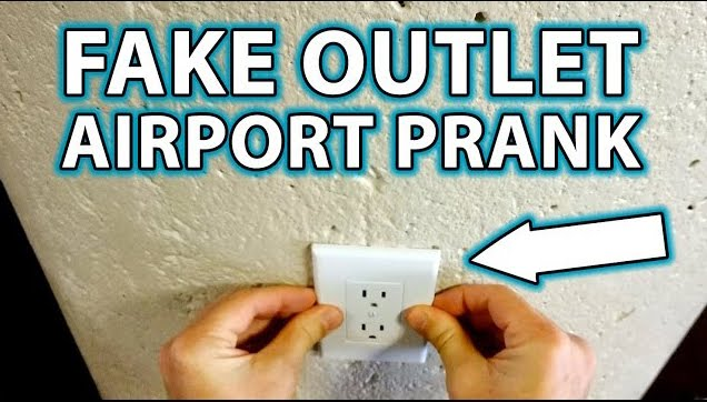 A fake wall outlet airport prank