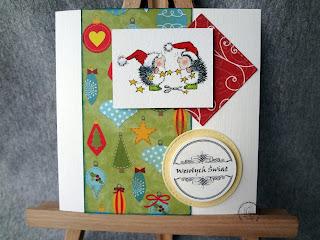 Świąteczna kartka z jeżykami
