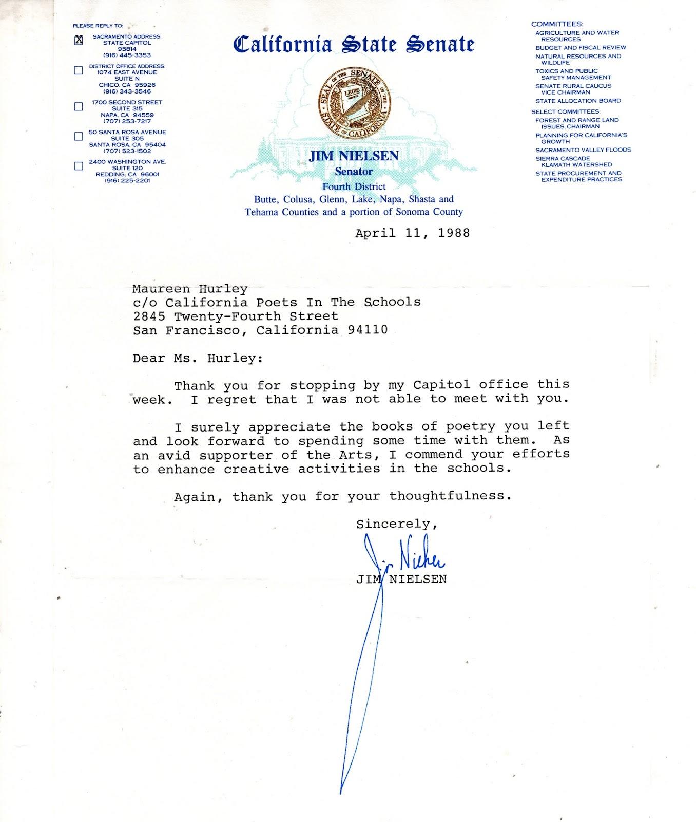 Literrata Senator Jim Nielson Cpits Thank You Letter Sacramento