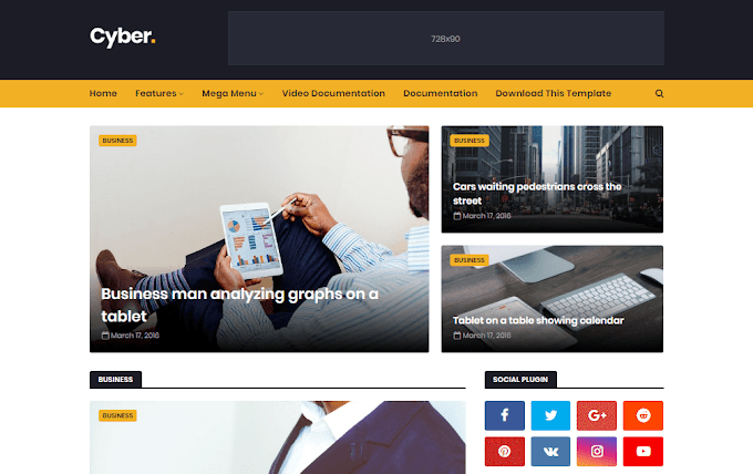 Download Free Premium Cyber News Blogger Template