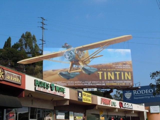 Tintin airplane billboard