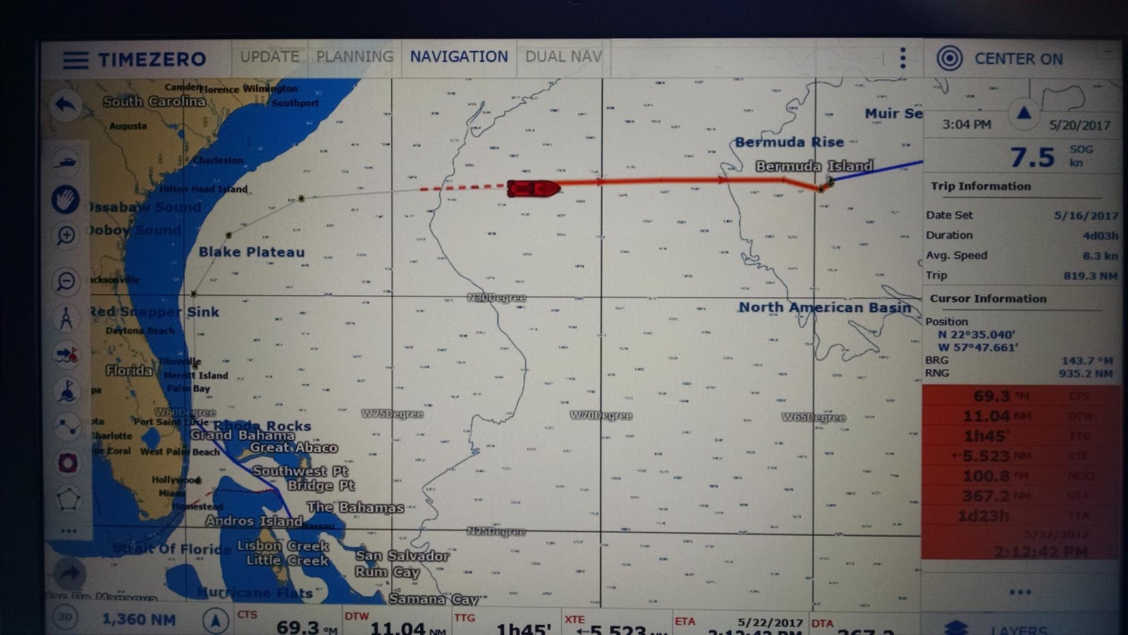 our nav chart with revised weather routing