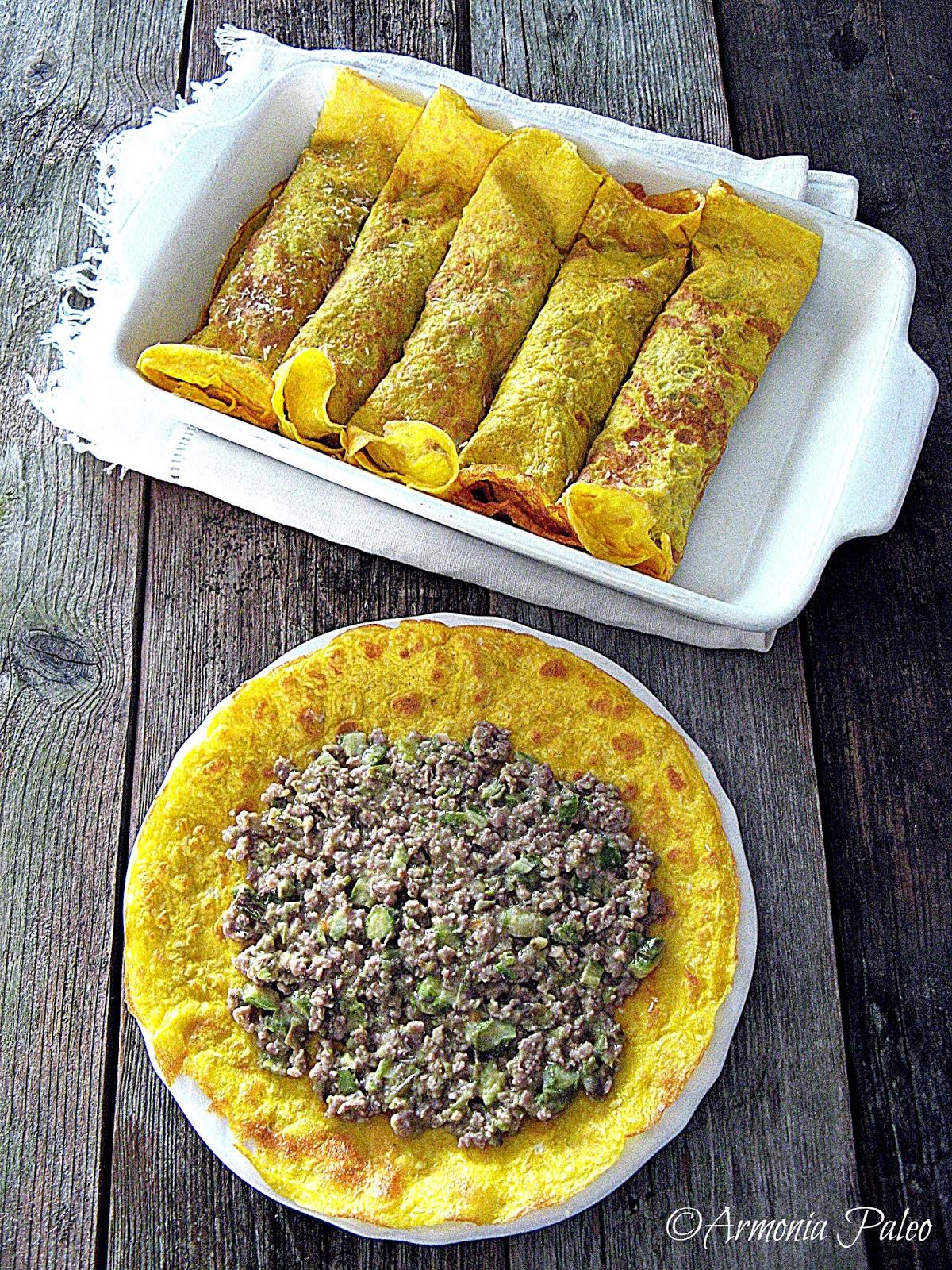 Cannelloni di Crêpes con Ragù di Agnello e Asparagi di Armonia Paleo