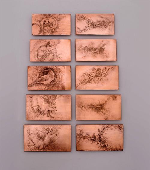 Imagem mostra todas as chapas de cobre utilizadas no projeto - frente e verso