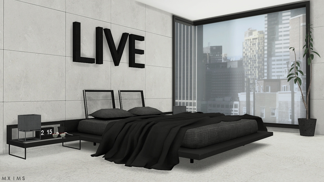 My sims 4 blog stylish modern bedroom set by mxims for Stylish modern furniture
