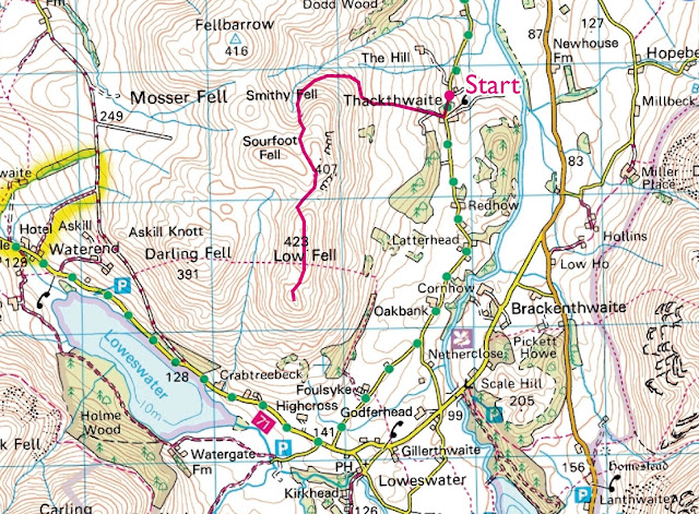 Map, Route, Low Fell, Crummock Water, Buttermere Walk, Lake District, Best View