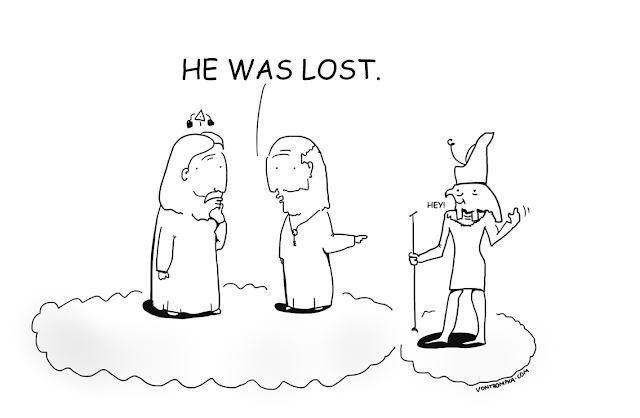 Funny He Was Lost God Heaven Cartoon Picture