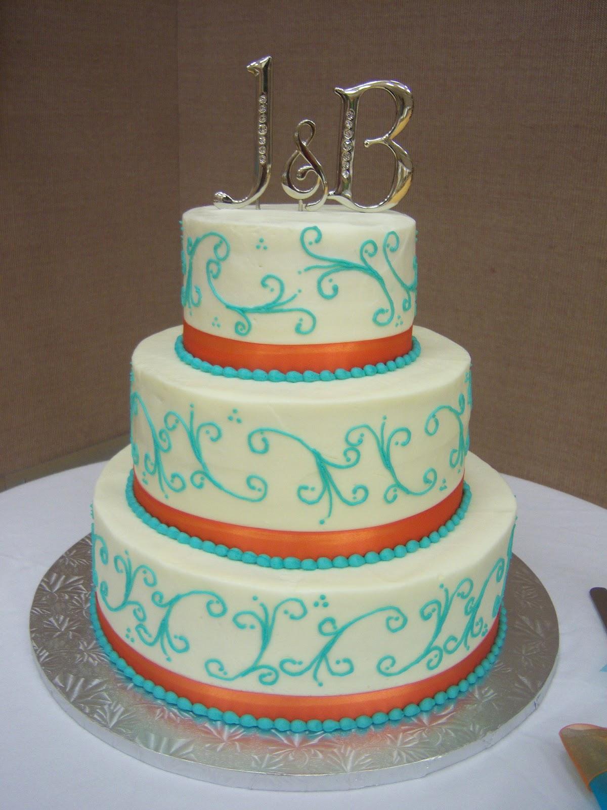 creative cakes by angela turquoise and orange wedding cake. Black Bedroom Furniture Sets. Home Design Ideas