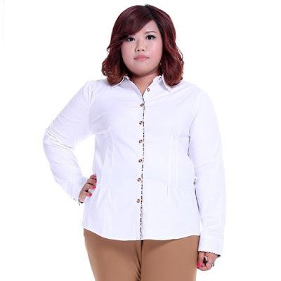 model kemeja warna putih wanita gemuk