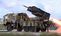 Türk yapımı olan ve bir kampon arkasındaki rampadan fırlatılan roketler