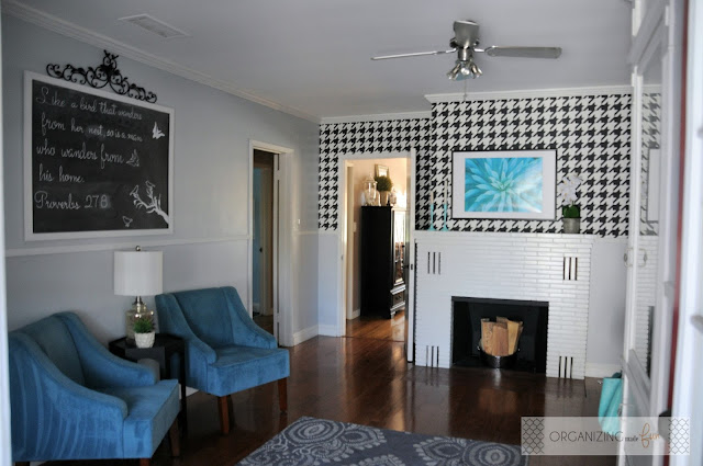 Beautiful room with chalkboard art and houndstooth wallpaper :: OrganizingMadeFun.com