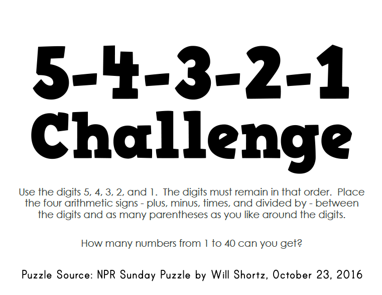 Math Love The 54321 Challenge from Will Shortz and NPR – Practice 5-4 Factoring Quadratic Expressions Worksheet Answers