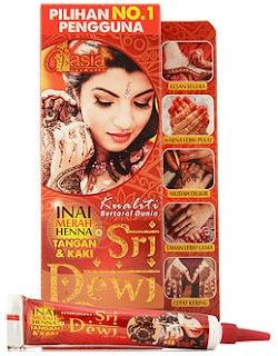 Fungsi Sri Dewi inai vasia :                 Cepat kering               Mudah diukir               Tahan lebih lama               Memberi kesan segera               Mempunyai warna yang lebih pekat
