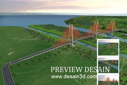Jasa desain 3d jembatan kawasan taman hutan luas sungai indah