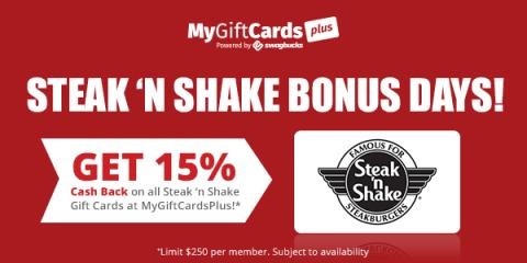 Image: If you love Steak 'N Shake, you can get a 15% cashback when you purchase Steak 'N Shake gift cards from MyGiftCardsPlus, which is a site that gives you cash back when you buy gift cards to your favorite retailers.