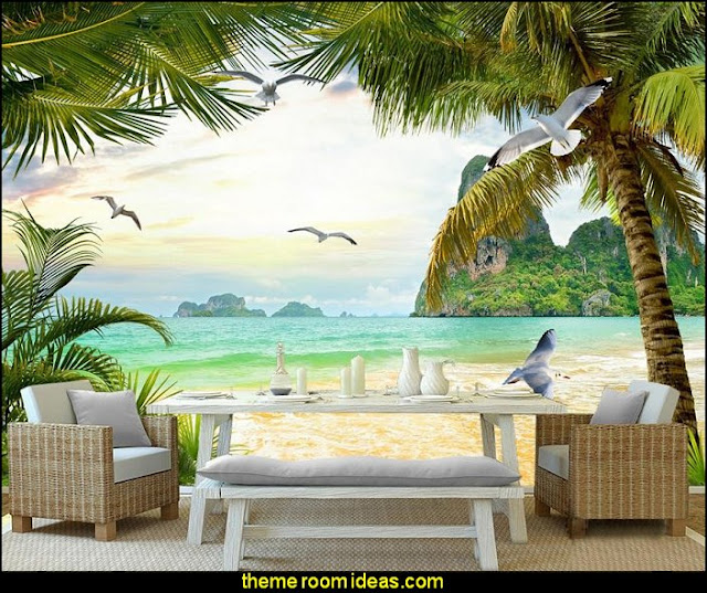 Palm beach  mural  Tropical beach style bedroom decorating ideas - beach bedrooms - surfer theme rooms - tropical theme Hawaiian style decorating - raffia valance window ideas - tropical bedding - tropical wall murals - palm trees decor - tropical bedroom decorating ideas