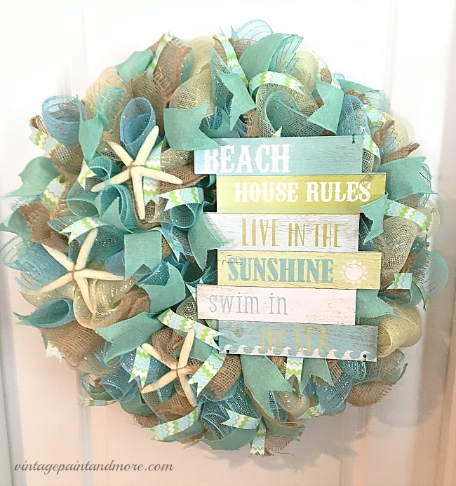 Vintage Paint and more... a beach themed deco mesh wreath with starfish and a beach rules signs