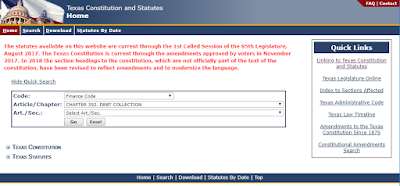 Texas Debt Collection Act online lookup of statute text - Texas Constitution and Statutes website URL